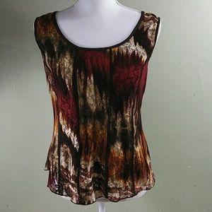 Dress Barn Colorful Sleeveless Lace Top L EUC